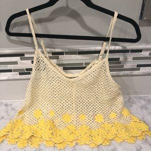 Free People Cream / Yellow Floral Crochet Tank Top